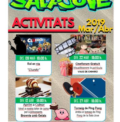 Actividades Sala Jove marzo y abril