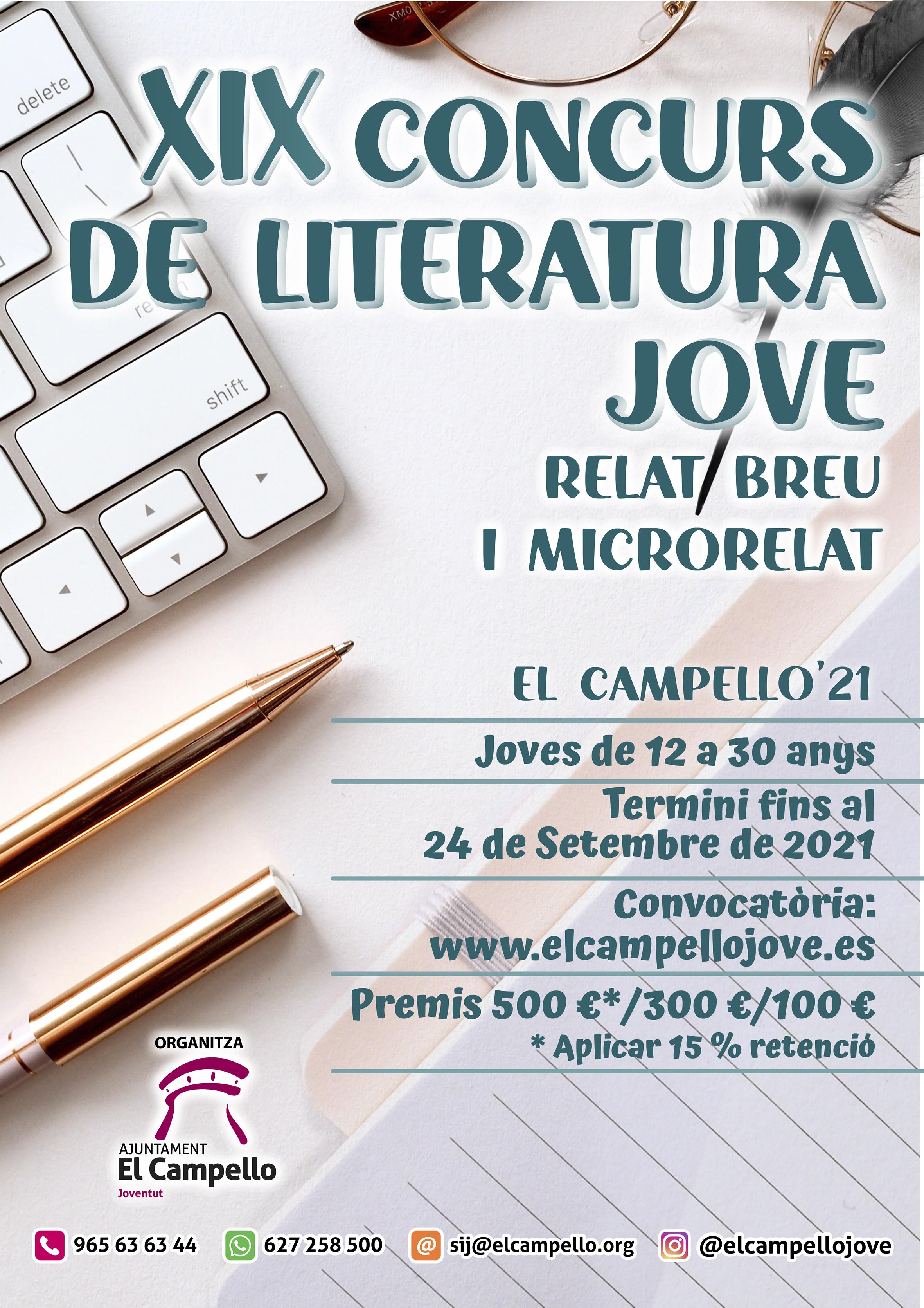 XIX Concurso de Literatura Joven . Relato breve y microrrelato.